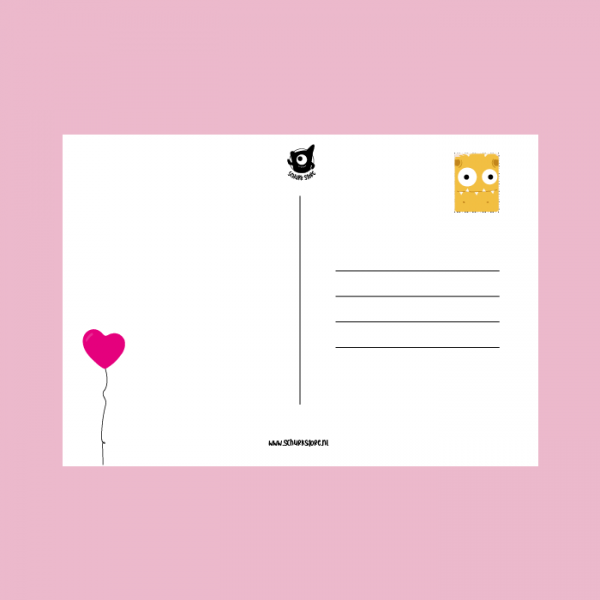 monsterkaart liefde roze achter