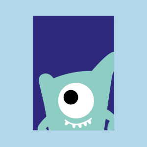 postkaart monster logo