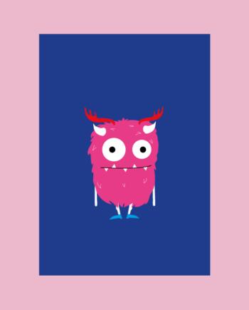 postkaart monster roze blauw