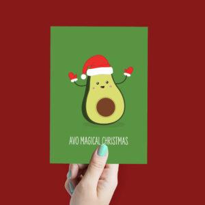 Grappige kerstkaart avocado